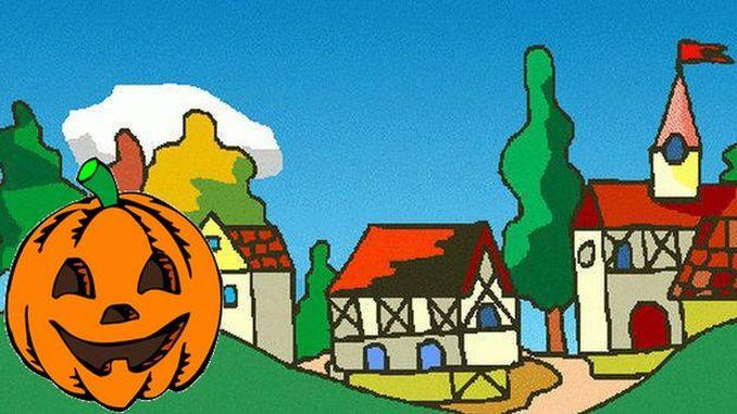 Der Spuk aus dem Keller, Siebengebirgsmärchen, ein Dorf im Herbst