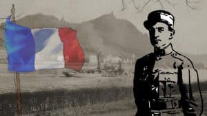 Revolution und Alliierte Rheinlandbesetzung, französischer Soldat am Rhein