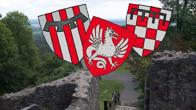 Hochmittelalter, die Herren vom Siebengebirge, Wappen Wolkenburg, Drachenfels und Löwenburg, Burgruine Löwenburg